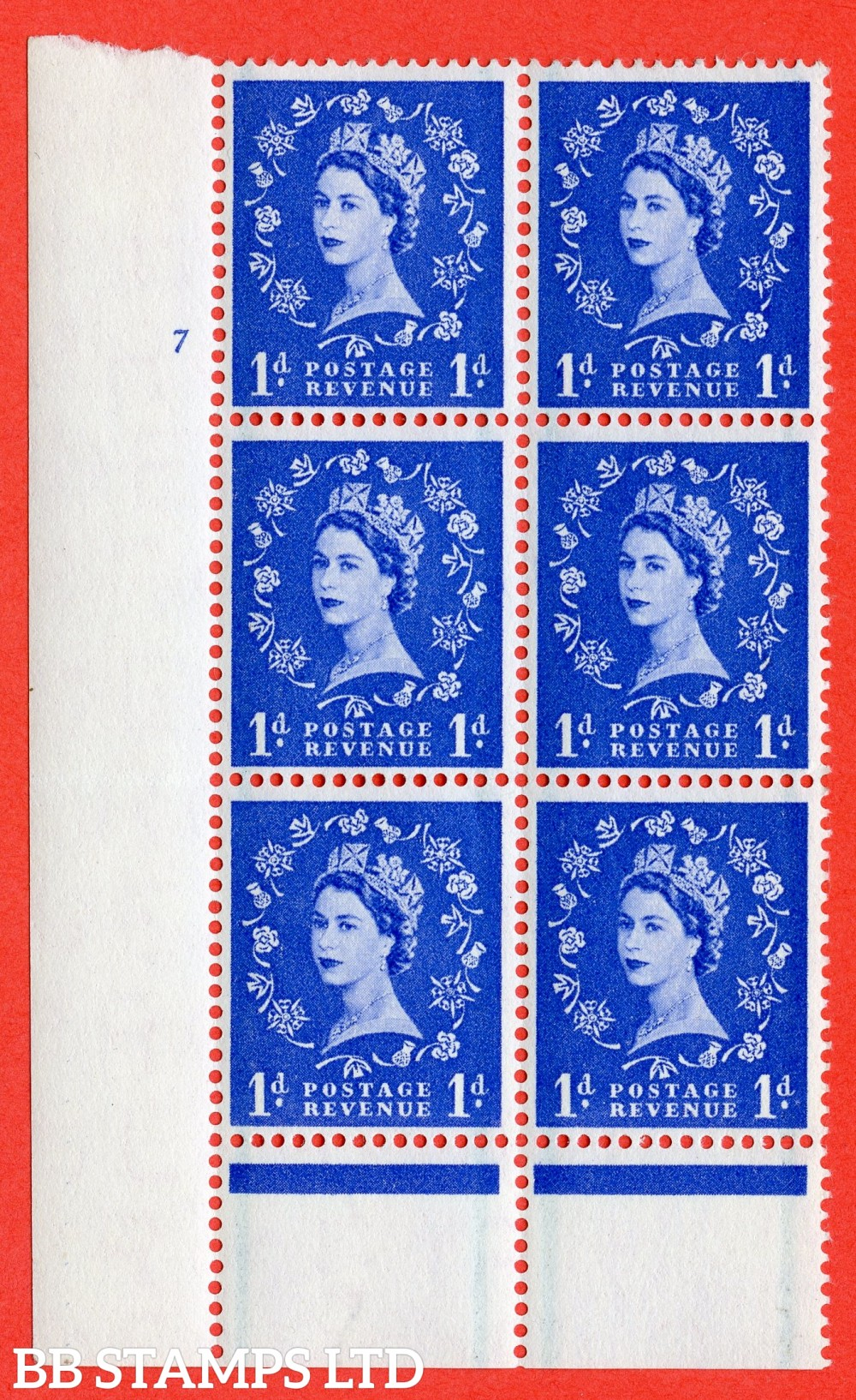 "SG. 562. S15. 1d Ultramarine. A superb UNMOUNTED MINT "" cylinder 7 no dot "" control block of 6 with perf type B I/P."