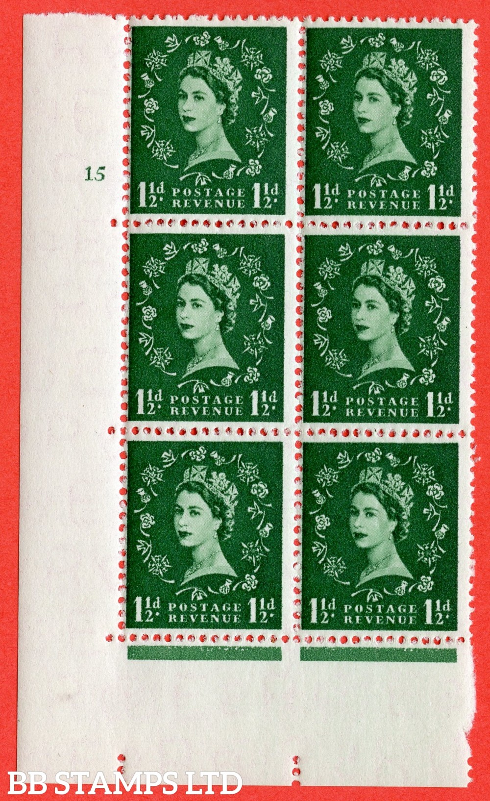 "SG. 542. S26. 1½d. Green. A fine lightly mounted mint "" cylinder 15 no dot "" control block of 6 with perf type A E/I"
