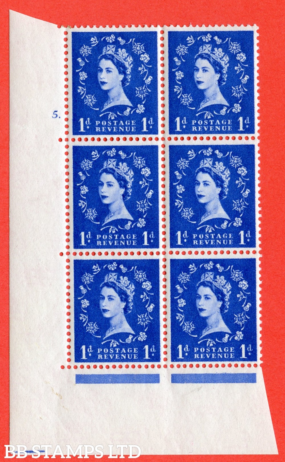 "SG. 571. S17. 1d Ultramarine. A superb UNMOUNTED MINT "" cylinder 5 dot "" control block of 6 with perf type A E/I. WHITE paper."