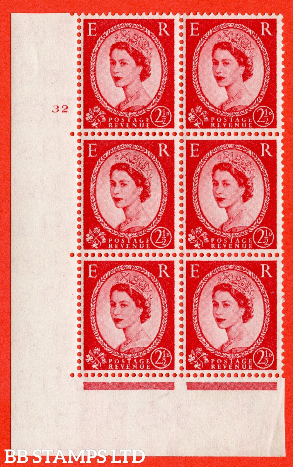 "SG. 544. S52. 2½d. Carmine - Red. A superb UNMOUNTED MINT "" cylinder 32 no dot "" control block of 6 with perf type A E/I."