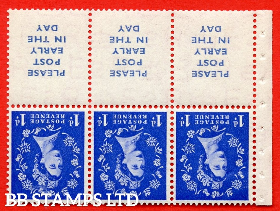 SG. 516Lawi. SB24a. 1d ultramarine. A fine MOUNTED MINT. WATERMARK INVERTED. Complete booklet pane of 6. Perf type (IS) with Good PERFS.