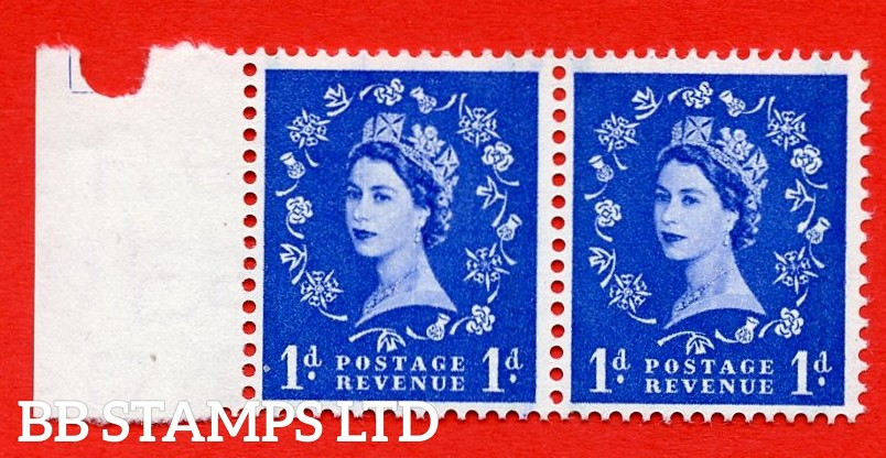 SG. 562. S15b. 1d Ultramarine. A superb UNMOUNTED MINT example. Left marginal positional Block of 2. With a Daffodil stem flaw. ERROR. R.15/2 variety.
