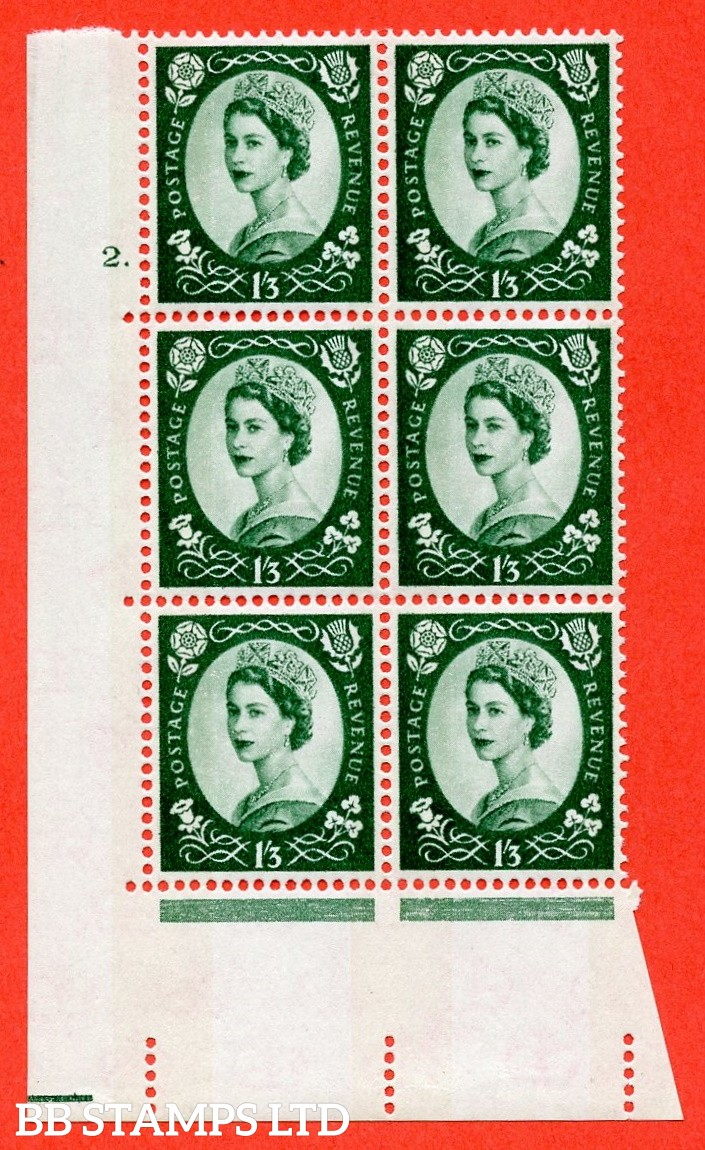 "SG.618. S147. 1/3d Green. A superb UNMOUNTED MINT "" cylinder 2 dot "" control block of 6 with perf type A (E/I). Blue Phosphor White paper."