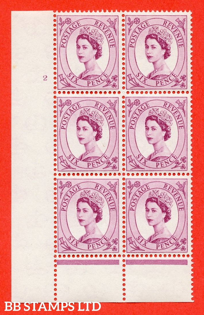"SG. 579 S107. 6d Deep claret  A superb UNMOUNTED MINT "" cylinder 2 no dot "" control block of 6 with perf type B (I/P)."