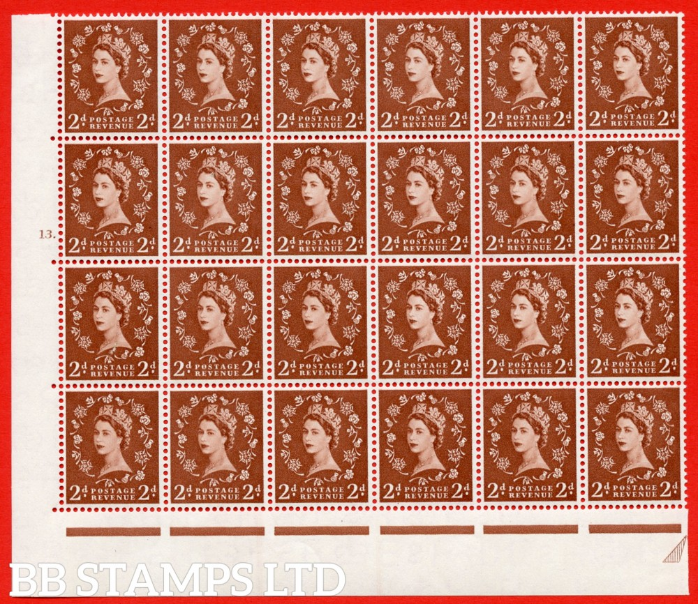 SG. 543b. S38g. 2d. Light Red-brown. A superb MOUNTED MINT example from cylinder 13 dot. corner marginal positional Block of 24. With a Tadpole flaw Retouched ERROR R.17/6 variety. (MM in margins only)