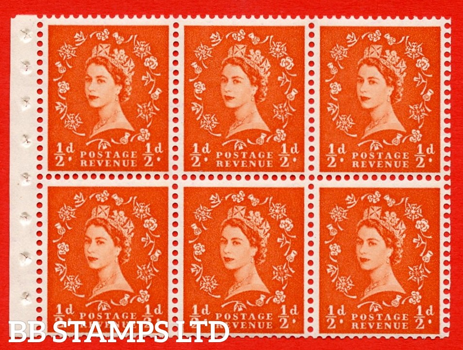 SG. 515. SB1. ½d orange - red. A fine UNMOUNTED MINTexample. Complete Booklet pane of 6. Perf Type Iet. Good perfs