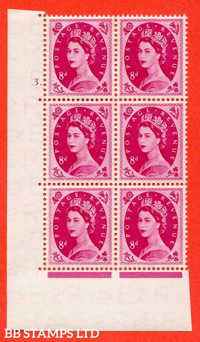"SG. 525. S119. 8d Magenta. A fine mounted mint "" cylinder 3 dot "" control block of 6 with perf type A E/I."
