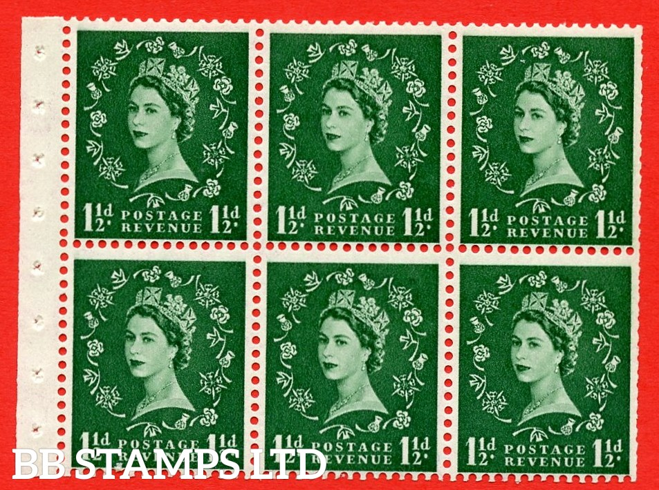 SG. 517. SB59. 1½d green. A fine UNMOUNTED MINT complete booklet pane of 6. Perf type (IS) with Trimmed PERFS.
