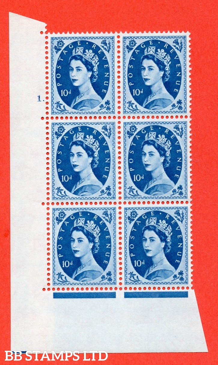 """SG. 583. S132. 10d Brown-purple. A superb UNMOUNTED MINT """" cylinder 1 dot """" control block of 6 with perf type A E/I. WHITE paper."""