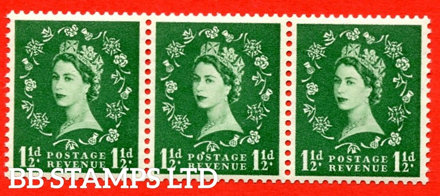 "SG. 517a. S25m. 1½d Green. A superb UNMOUNTED MINT Coil strip of 3. Sideways Watermark. Variety Flaw over ""O"" of ""POSTAGE"" (Sideways Coil,Roll 2)."