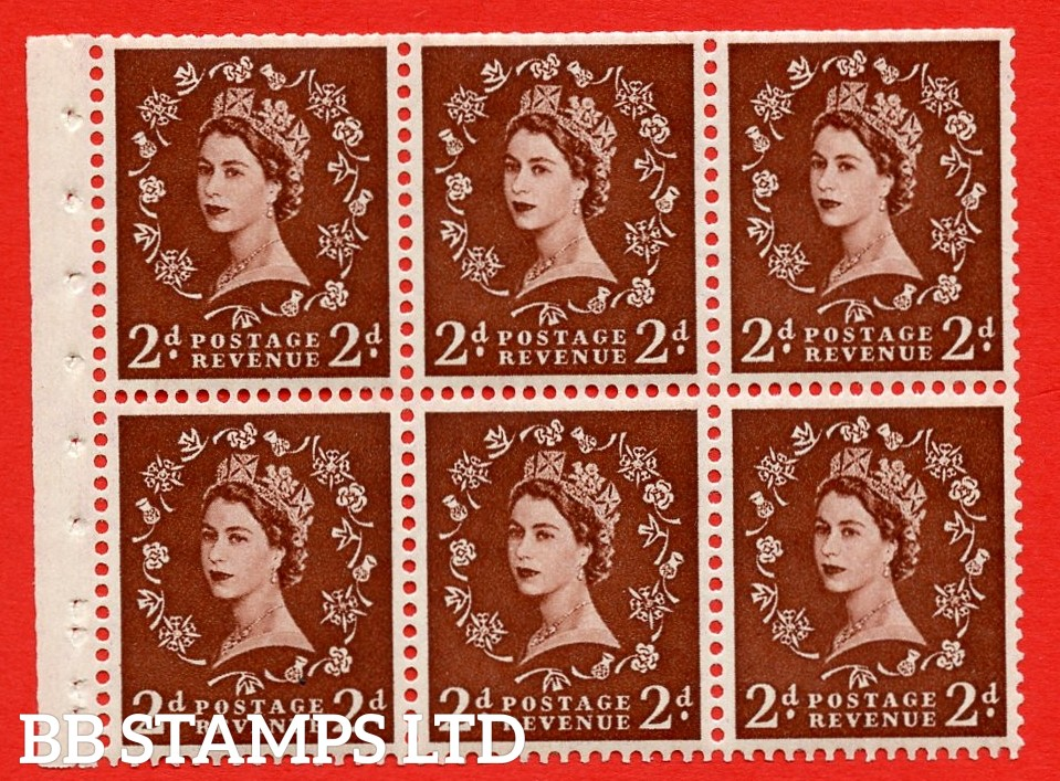 SG. 518. SB76. 2d red - brown. A fine UNMOUNTED MINT booklet pane of 6. Perf type (IS) with Trimmed PERFS.