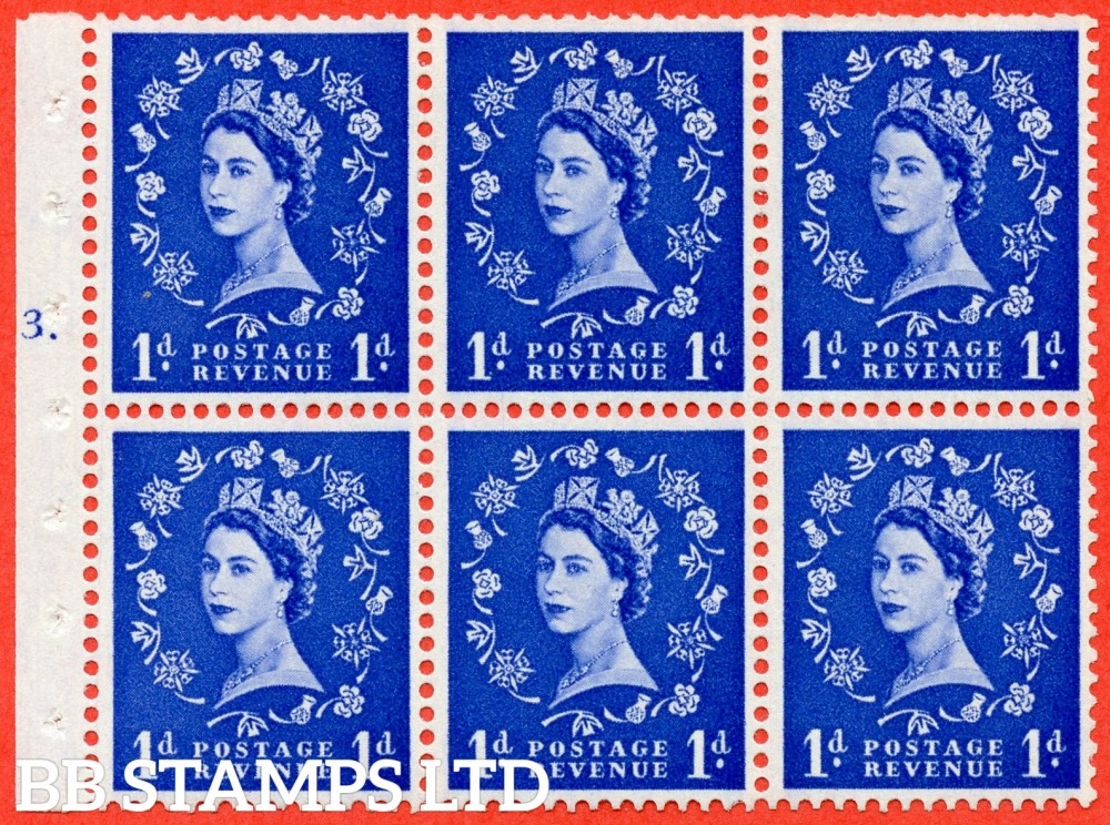 "SG. 571. SB30. 1d Ultramarine. A fine mounted mint cylinder "" F3 T dot "" booklet pane of 6. Perf type (Iet) with TRIMMED PERFS. Smooth edge Cream paper."