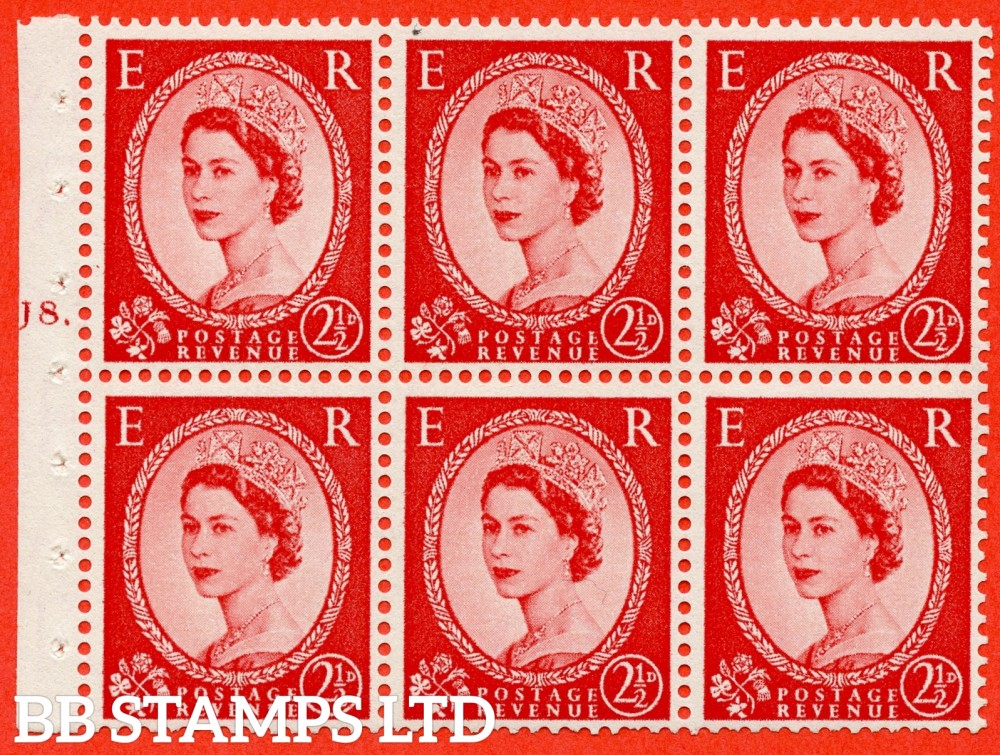 "SG. 544b. SB81. 2½d carmine - red. A fine UNMOUNTED MINT "" J8 dot "" booklet pane of 6. Perf type (Ieb) with GOOD PERFS. Smooth edge."
