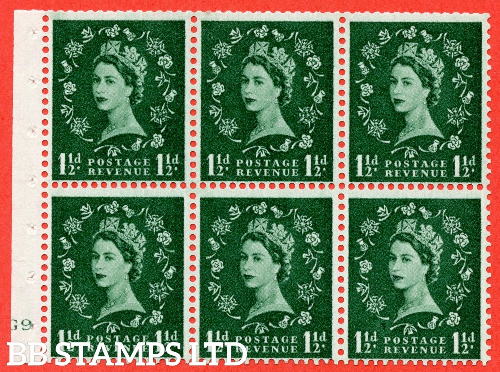 "SG. 542. SB62. 1½d green. A fine mounted mint cylinder "" G9 no dot "" booklet pane of 6. Perf type (I) with TRIMMED PERFS. Smooth edge."
