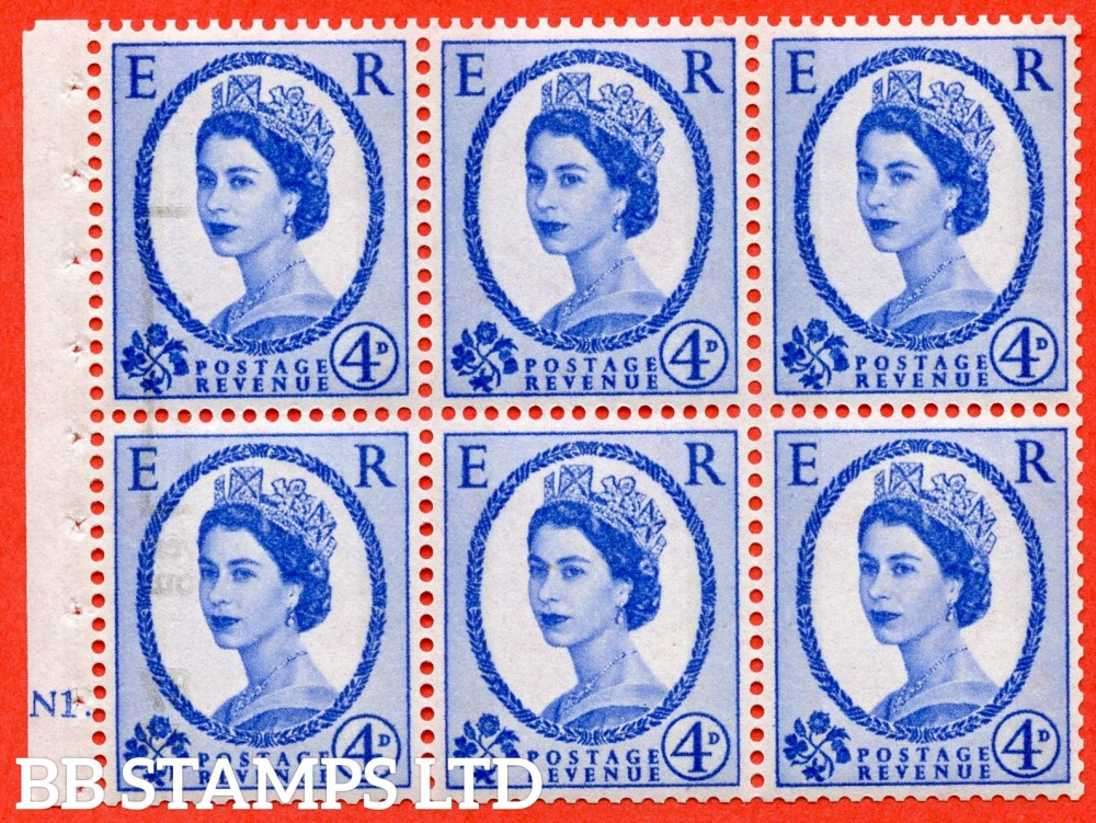 "SG. 616a. SB109. 4d Deep Ultramarine. A fine UNMOUNTED MINT cylinder "" N1 dot "" booklet pane of 6. Perf type (Iet) with GOOD PERFS. Smooth edge. White Paper."