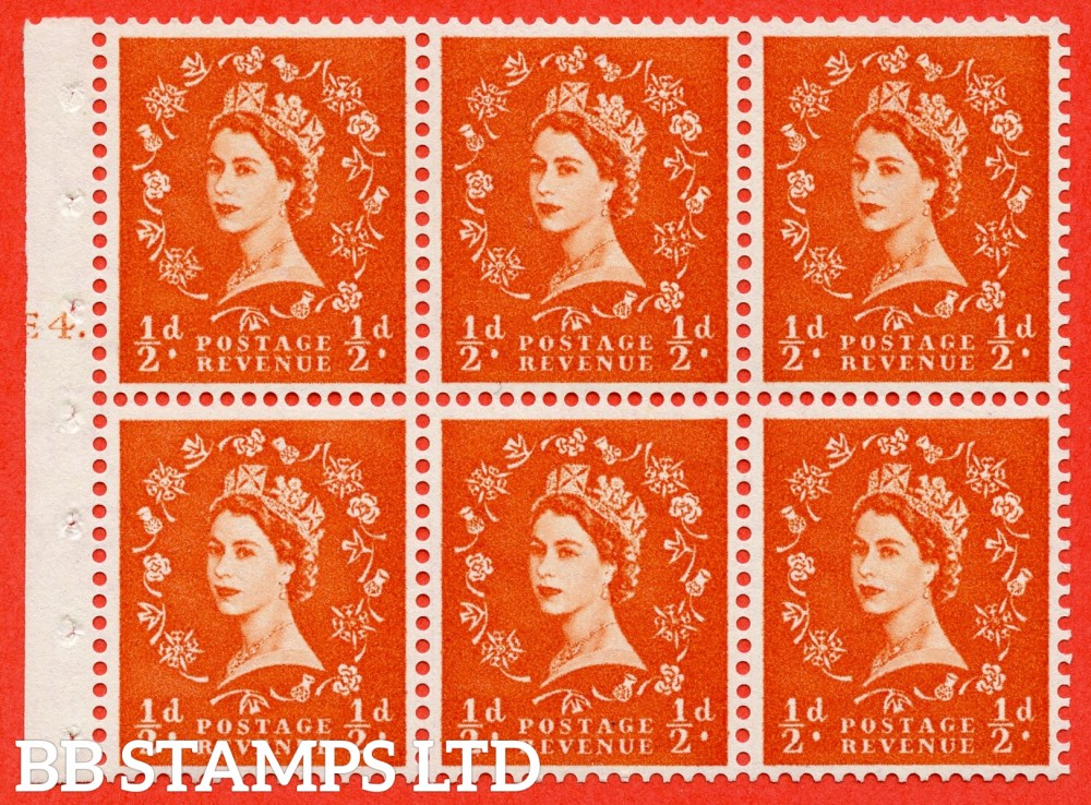 "SG. 540. SB4. ½d orange - red. A fine mounted mint cylinder "" E4 T dot "" booklet pane of 6. Perf type (Iet) with TRIMMED PERFS. Smooth edge."