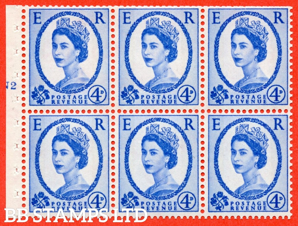 "SG. 616a. SB111. 4d Deep Ultramarine. A fine UNMOUNTED MINT cylinder "" N2 T No dot "" booklet pane of 6. Perf type (I) with TRIMMED PERFS. Smooth edge."