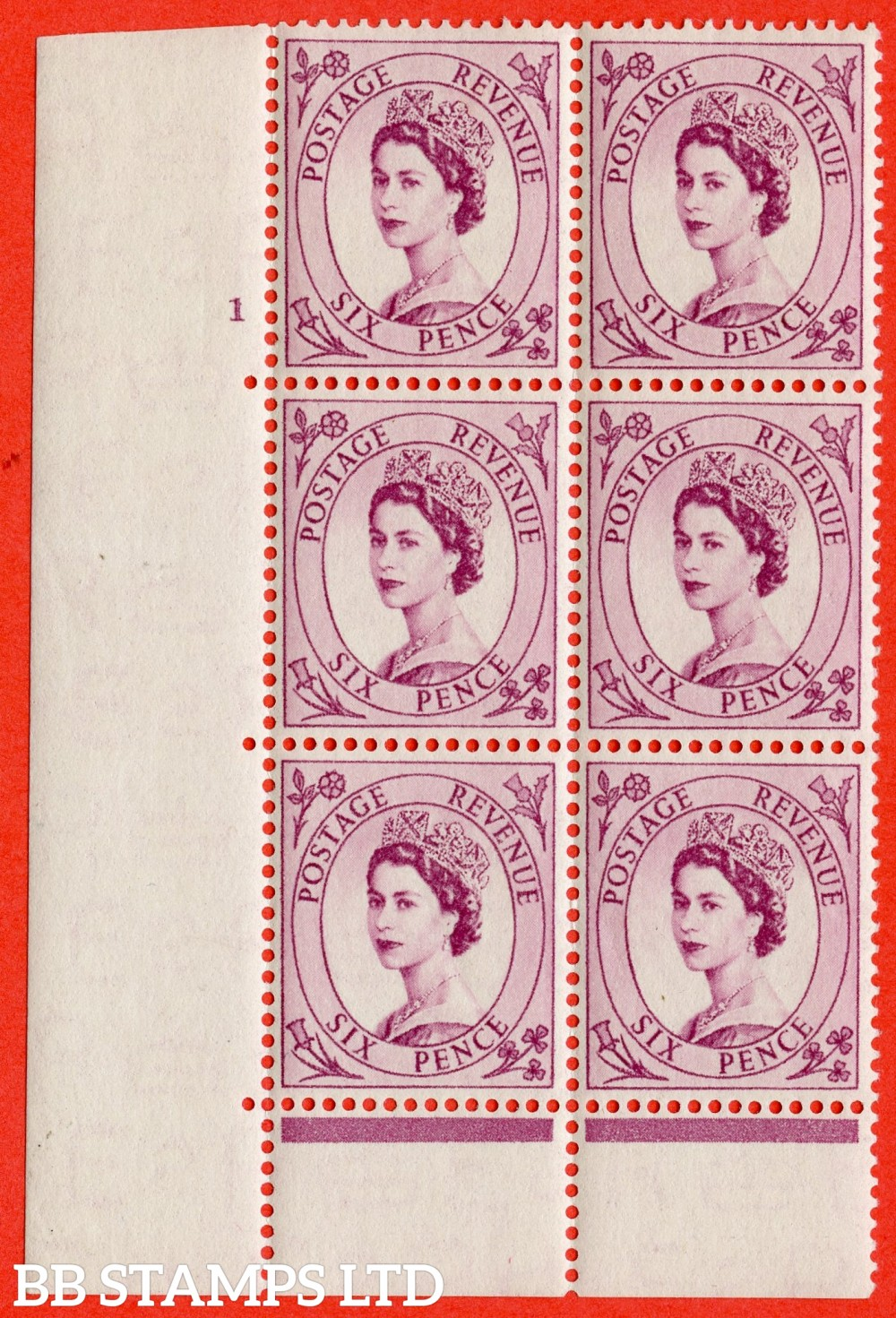 "SG. 523. S104. 6d Purple. A fine lightly mounted mint "" cylinder 1 dot "" control block of 6 with perf type C E/P."