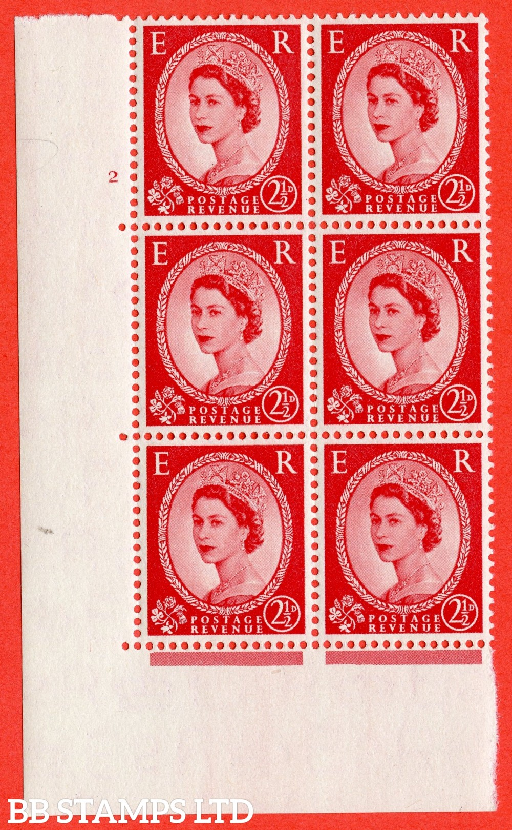 "SG. 519. S50. 2½d Carmine Red. A superb UNMOUNTED MINT "" cylinder 2 no dot "" control block of 6 with perf type A E/I."