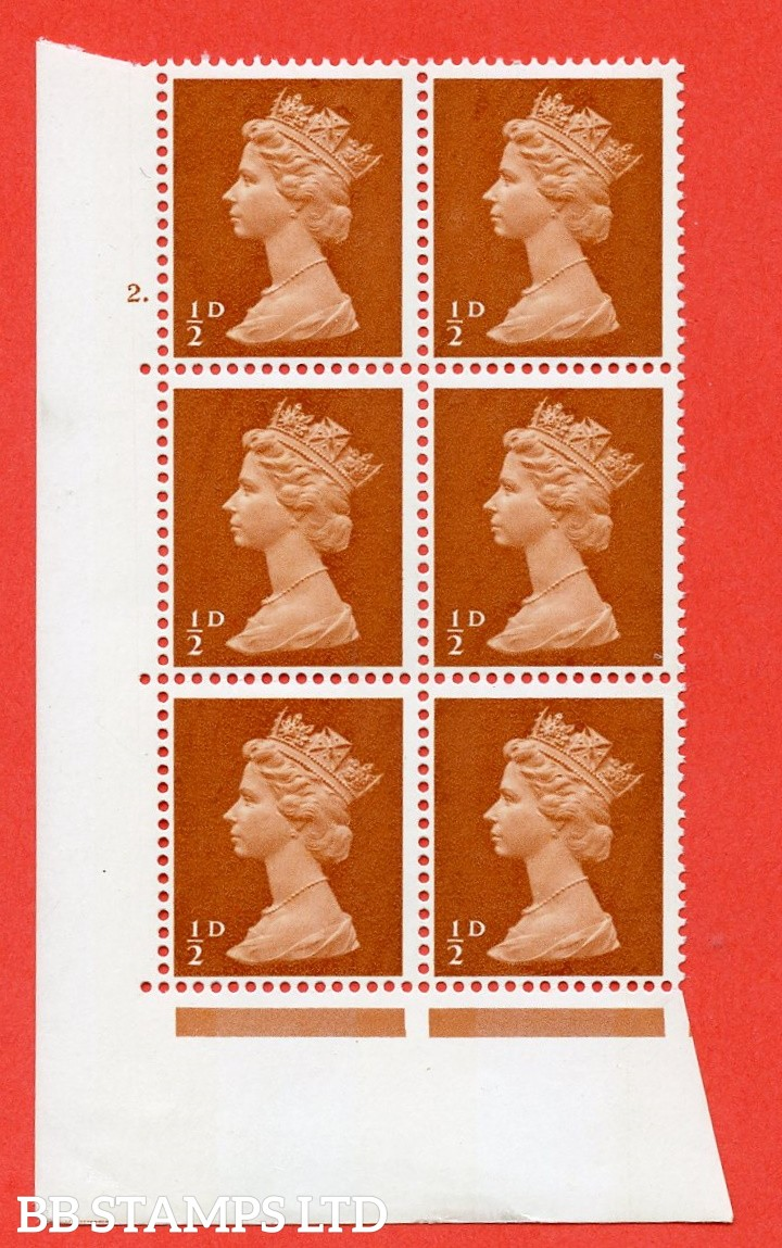 "SG. 723. U1. ½d orange brown A superb UNMOUNTED MINT "" cylinder 2 dot "" control block of 6 with perf type A E/I. PVA gum. Head A."