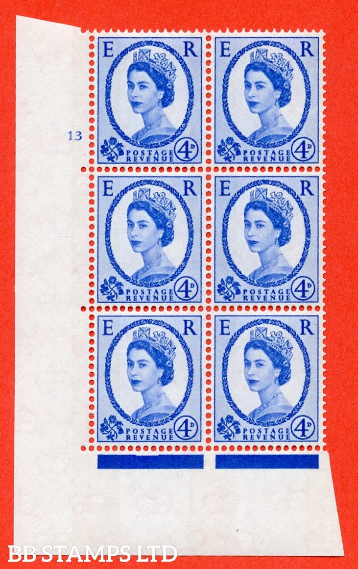 "SG.616a. S90. 4d Deep Ultramarine. A superb UNMOUNTED MINT "" cylinder 13 no dot "" control block of 6 with perf type A (E/I). Blue Phosphor White paper."