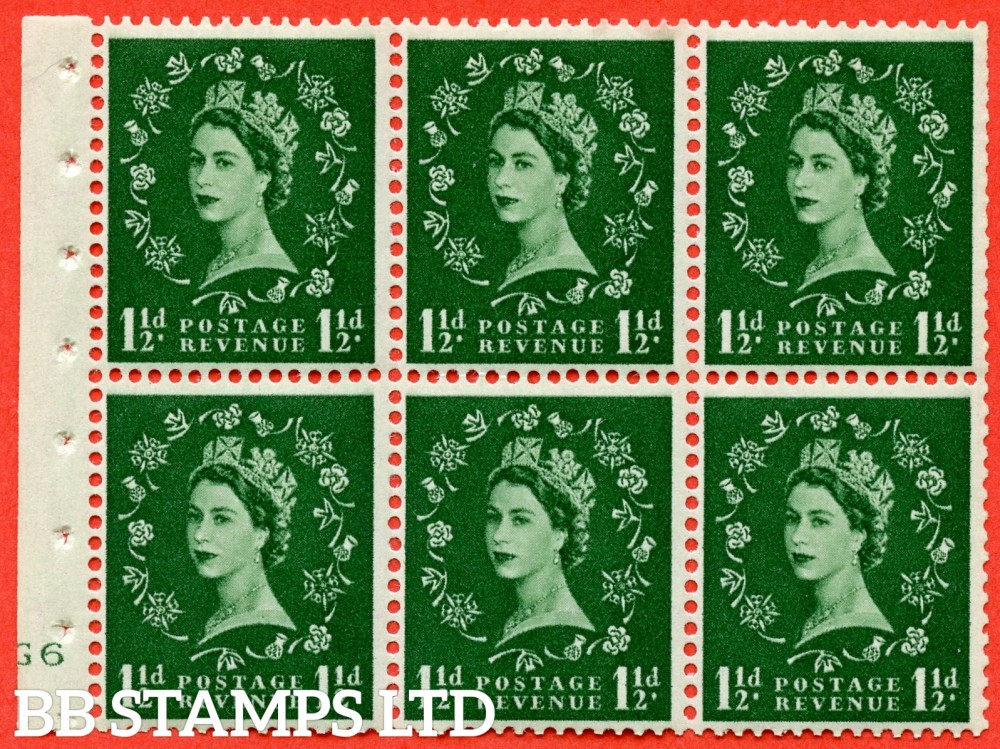 "SG. 542. SB62. 1½d green. A fine UNMOUNTED MINT cylinder "" G6 no dot "" booklet pane of 6. Perf type (I) with TRIMMED PERFS. Smooth edge."