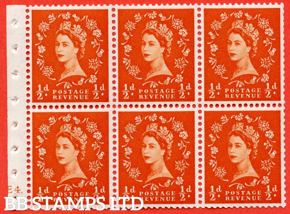 "SG. 540. SB4. ½d orange - red. A fine UNMOUNTED MINT cylinder "" E4 no dot "" booklet pane of 6. Perf type (I) with TRIMMED PERFS. Smooth edge."