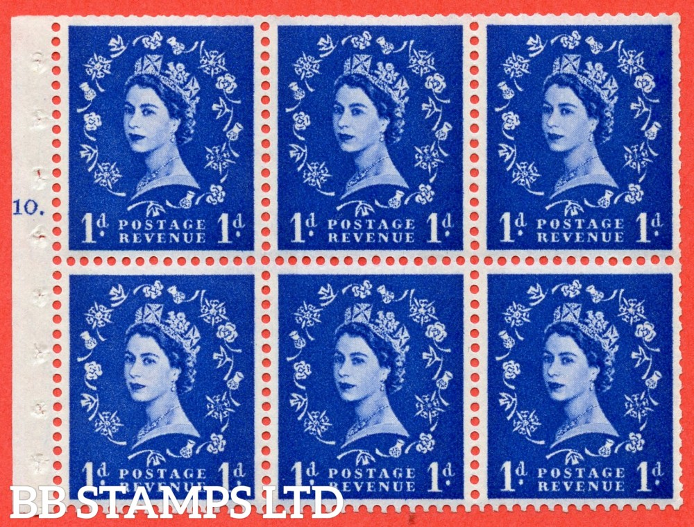 "SG. 611. SB49. 1d Ultramarine. A fine mounted mint cylinder "" F10 T dot "" booklet pane of 6. Perf type (Iet) with TRIMMED PERFS. Smooth edge. White Paper."