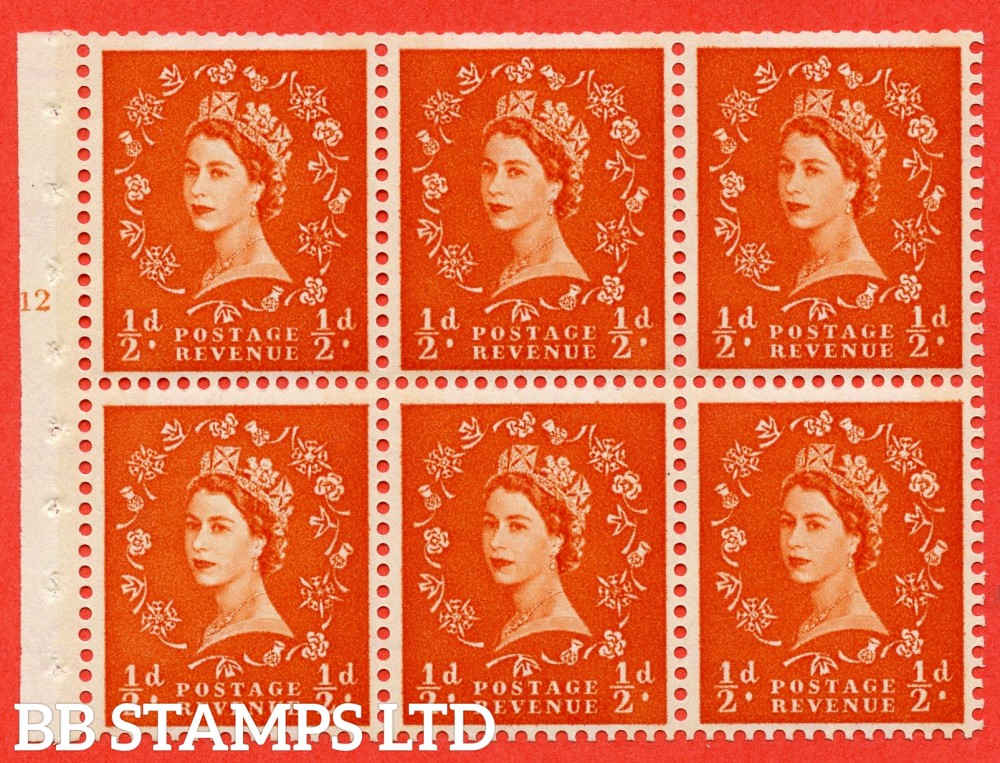 "SG. 610. SB16. ½d Orange Red. A fine UNMOUNTED MINT cylinder "" E12 T no dot "" booklet pane of 6. Perf type (I) with TRIMMED PERFS. Smooth edge. Cream Paper."