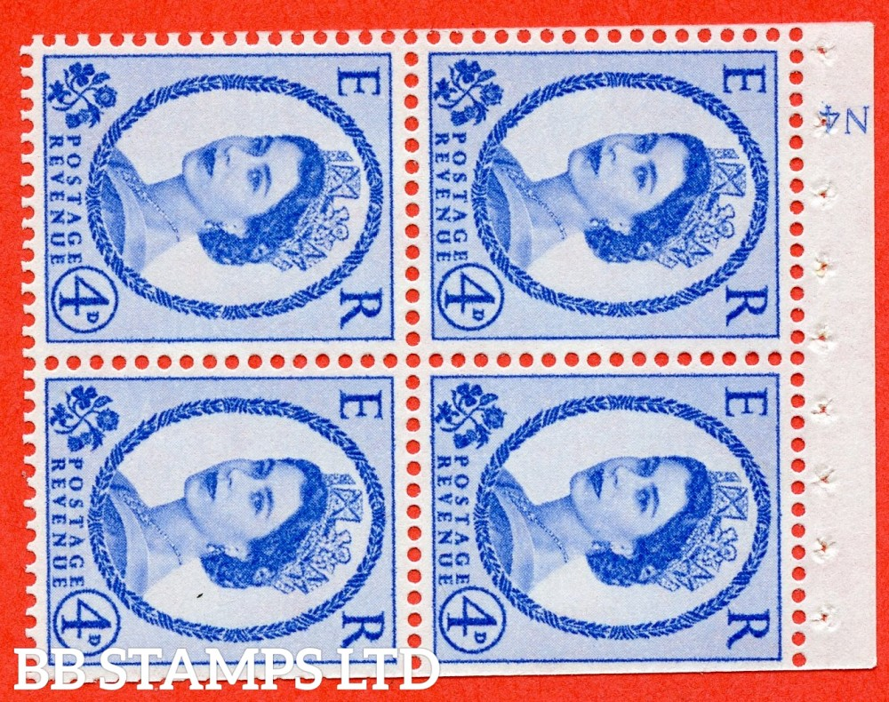 "SG. 576a. SB106a. 4d Deep Ultramarine. A fine UNMOUNTED MINT cylinder "" N4 no dot "" booklet pane of 4. Perf type (I) with TRIMMED PERFS. Smooth edge. White paper."