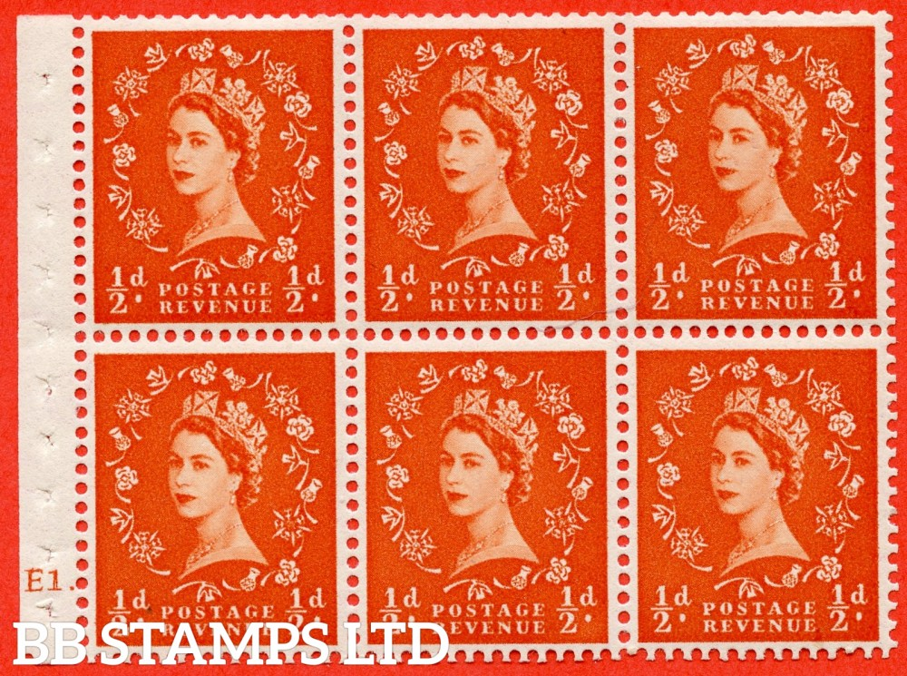 "SG. 515. SB1. ½d orange - red. A fine mounted mint cylinder "" E1 dot "" booklet pane of 6. Perf type (Ieb) with TRIMMED PERFS. Smooth edge."