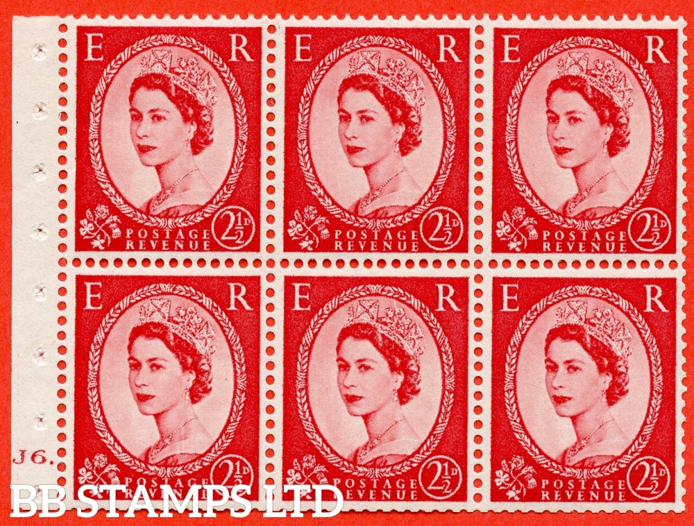 "SG. 544b. SB81. 2½d carmine - red. A fine mounted mint "" J6 T No dot "" booklet pane of 6. Perf type (Iet) with TRIMMED PERFS. Smooth edge."
