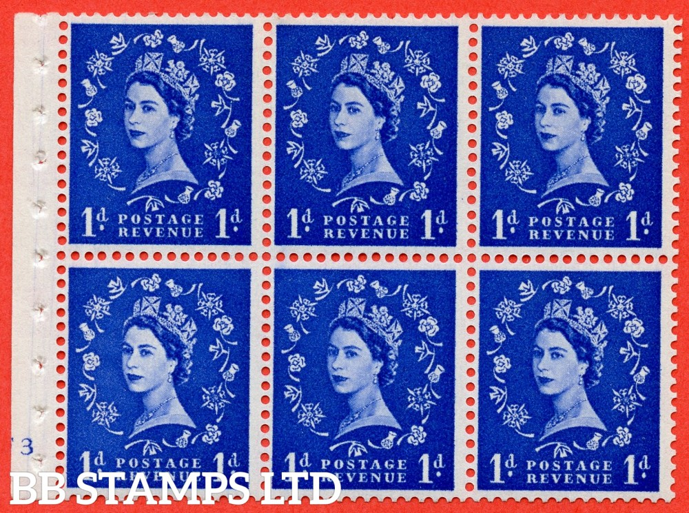 "SG. 571. SB30. 1d Ultramarine. A fine UNMOUNTED MINT cylinder "" F3 no dot "" booklet pane of 6. Perf type (I) with GOOD PERFS. Smooth edge Cream paper."