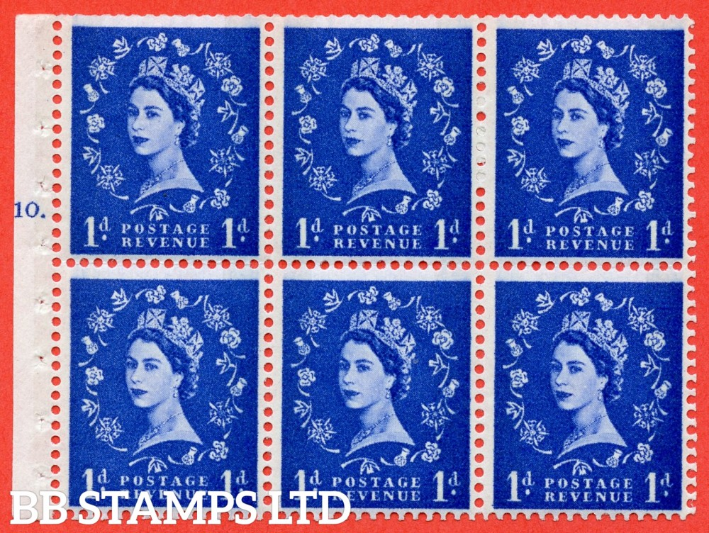 "SG. 611. SB42. 1d Ultramarine. A fine UNMOUNTED MINT cylinder "" F10 T dot "" booklet pane of 6. Perf type (Iet) with TRIMMED PERFS. Smooth edge. White Paper."