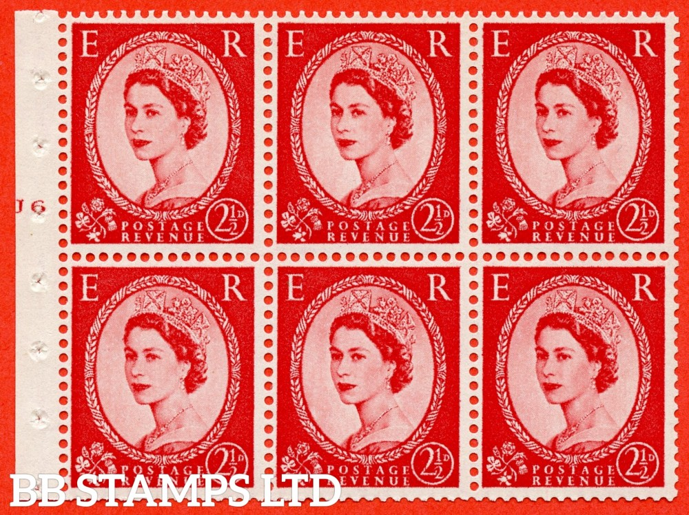 "SG. 574. SB82. 2½d Carmine Red Type II. A fine UNMOUNTED MINT cylinder "" J6 T no dot "" booklet pane of 6. Perf type (I) with TRIMMED PERFS. Smooth edge. Cream paper."