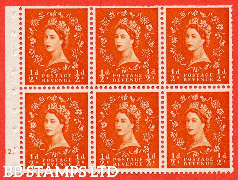 "SG. 570. SB7. ½d orange - red. A fine UNMOUNTED MINT cylinder "" E12 T no dot "" booklet pane of 6. Perf type (I) with TRIMMED PERFS. Smooth edge. Cream paper."