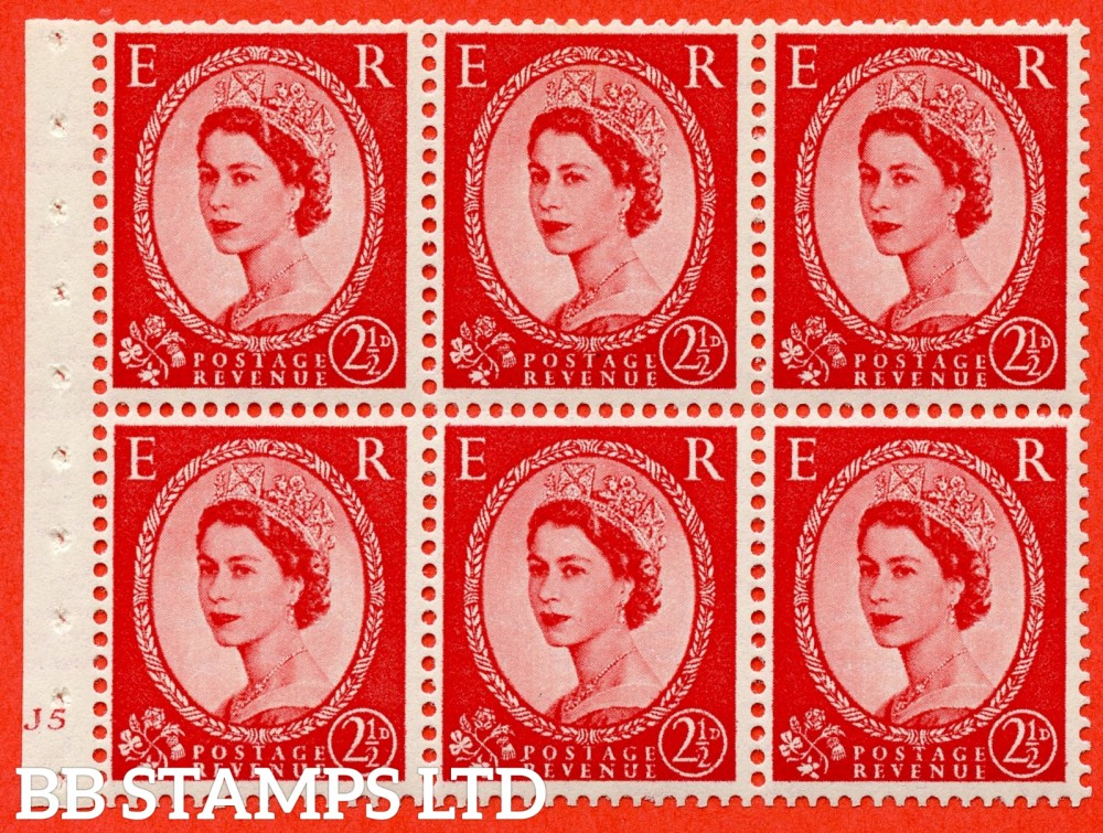 "SG. 519 b. SB80. 2½d carmine - red. A fine UNMOUNTED MINT cylinder "" J5 no dot "" booklet pane of 6. Perf type (I) with GOOD PERFS. Smooth edge."