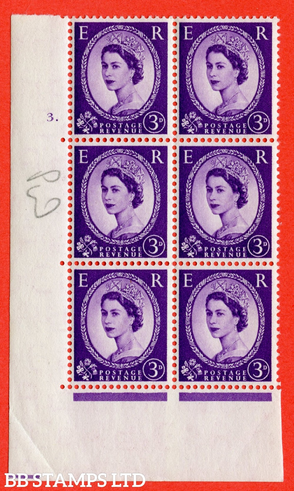 "SG. 520. S67. 3d Deep Lilac. A superb UNMOUNTED MINT "" cylinder 3 dot "" control block of 6 with perf type A E/I."