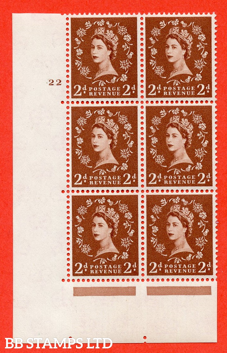 """SG. 573. S40. 2d light red brown . A fine mounted mint """" cylinder 22 no dot """" control block of 6 with perf type A E/I. CREAM paper."""