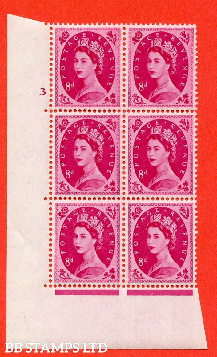 "SG. 550. S120. 8d. Magenta. A fine mounted mint "" cylinder 3 no dot "" control block of 6 with perf type A E/I."
