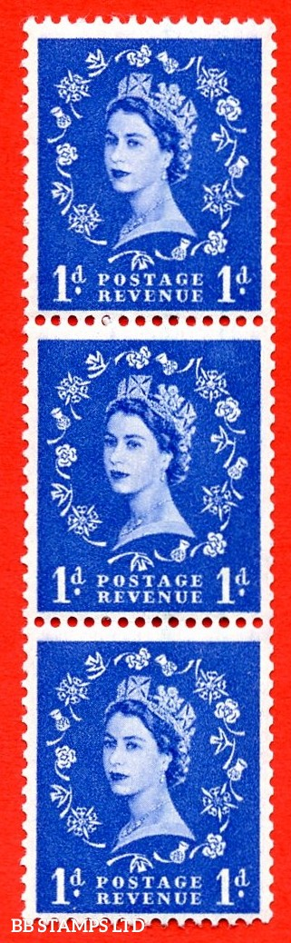 SG. 588 S18i & S18b. 1d ultramarine. A super UNMOUNTED MINT example. Coil strip of 3. Crowns graphite. With a spot on thistle head ERROR and two lines at left or right ERROR. Roll 1 variety.