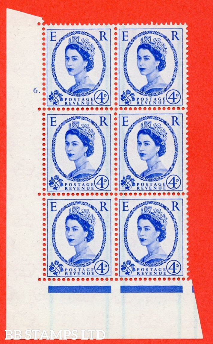 "SG. 593. S86. 4d Ultramarine. A superb UNMOUNTED MINT "" cylinder 6 dot "" control block of 6 with perf type A E/I."