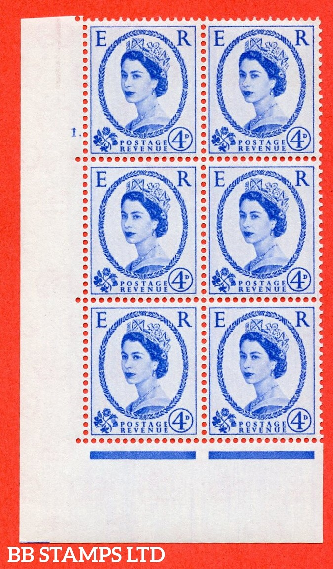 "SG S83. 4d ultramarine  A superb UNMOUNTED MINT "" cylinder 1 dot "" control block of 6 with perf type A (E/I)."