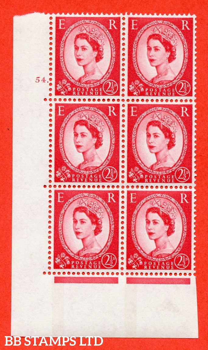 "SG.614a. S65. 2½d Carmine red. LB Photo. A fine mounted mint "" cylinder 54 dot "" control block of 6 with perf type A (E/I). Blue Phosphor White paper"
