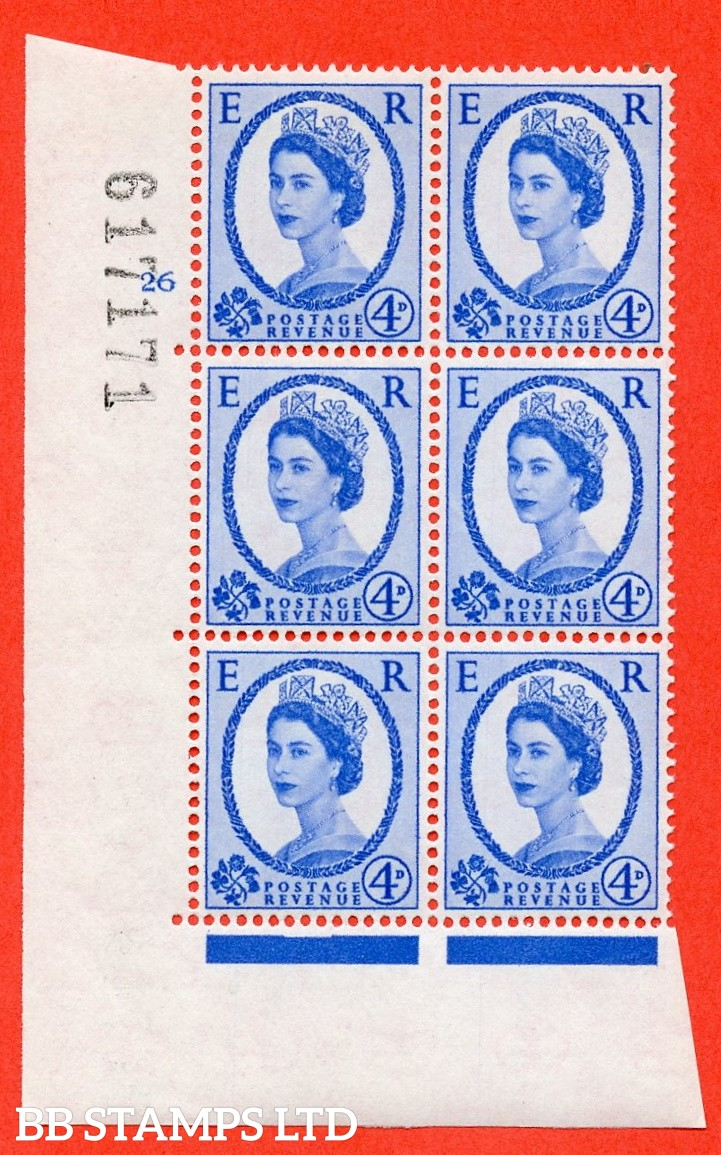"SG. 576a. S85. 4d Deep Ultramarine. A superb UNMOUNTED MINT "" cylinder 26 no dot "" control block of 6 with perf type A E/I. WHITE paper."