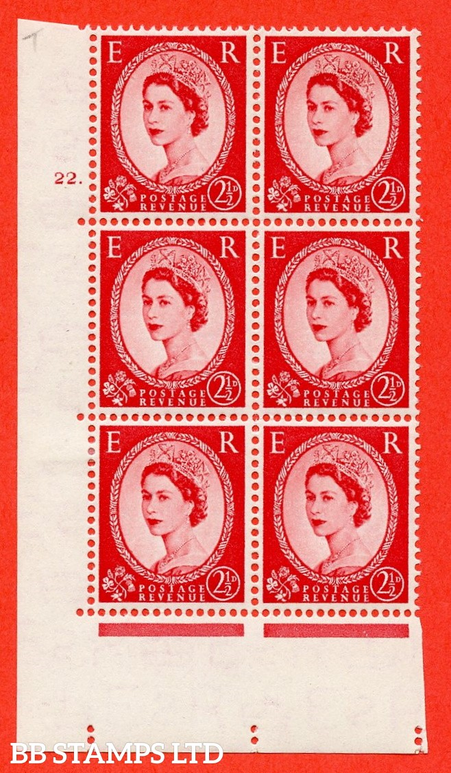 "SG. 519. S50. 2½d Carmine Red. A fine mounted mint "" cylinder 22 dot "" control block of 6 with perf type A E/I."