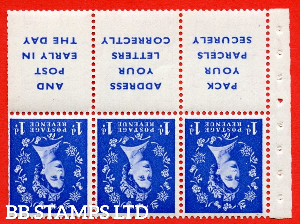SG. 516Lawi. SB25a. 1d ultramarine. A fine UNMOUNTED MINT. WATERMARK INVERTED. Complete booklet pane of 6. Perf type (IR) with Trimmed PERFS.