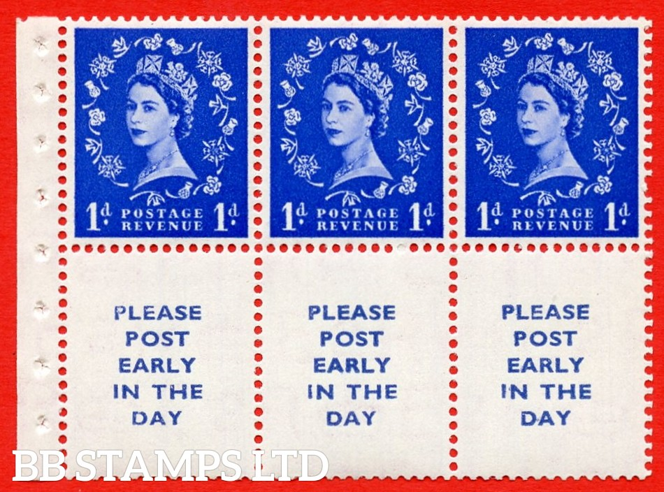 SG. 516La. SB24. 1d ultramarine. A fine UNMOUNTED MINT Complete booklet pane of 6. Perf type (Iet) with Good PERFS.