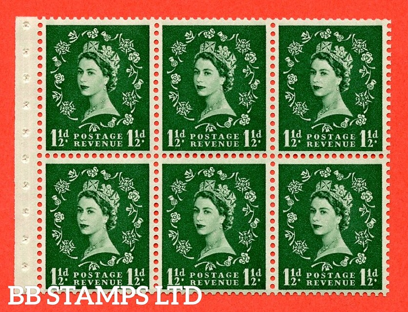 SG. 517L. SB59. 1½d green. A fine UNMOUNTED MINT complete booklet pane of 6. Perf type (IS) with Good PERFS.
