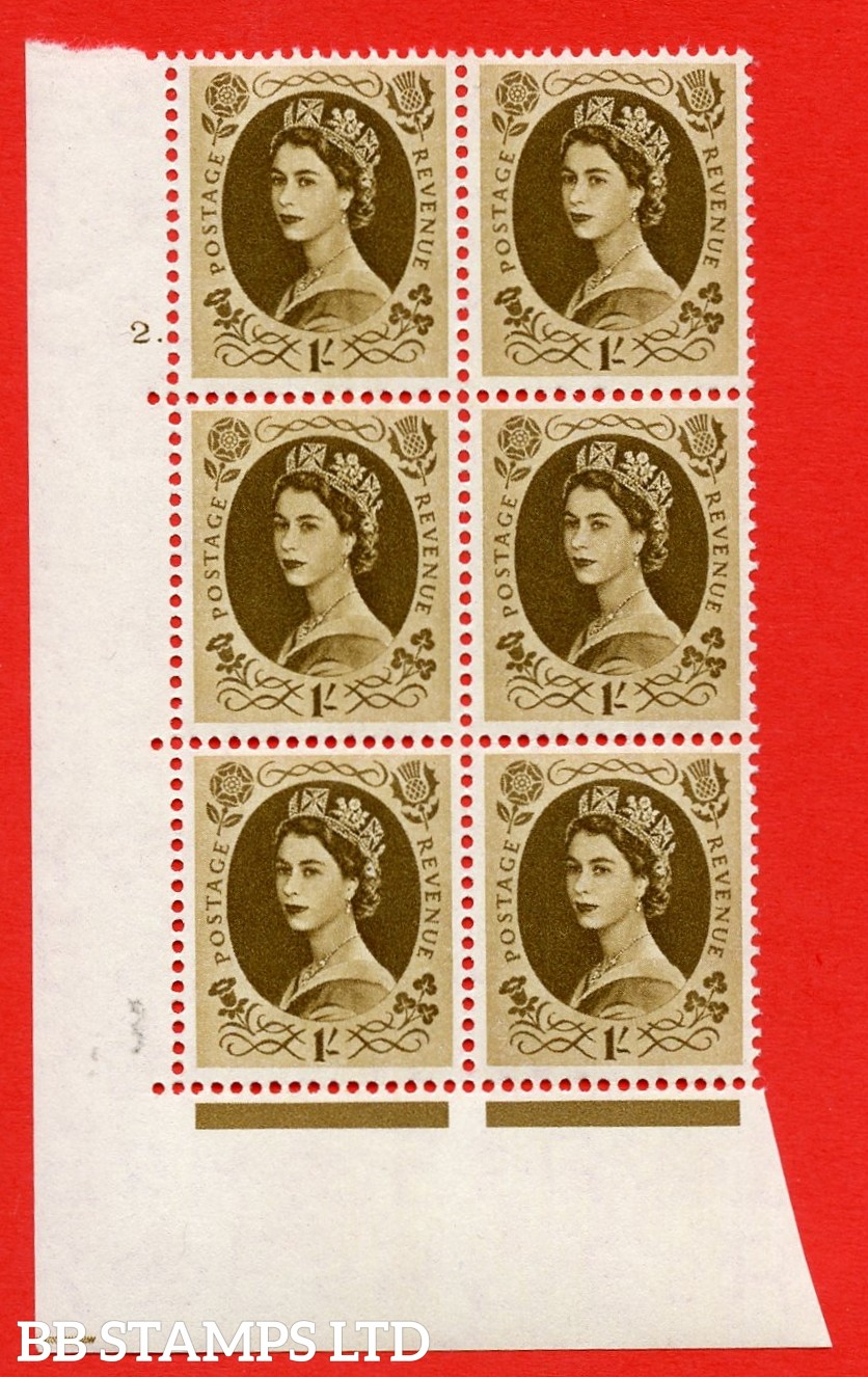 "SG. 554. S137. . 1/- Bistre - brown. A superb UNMOUNTED MINT "" cylinder 2 dot "" control block of 6 with perf type A E/I."